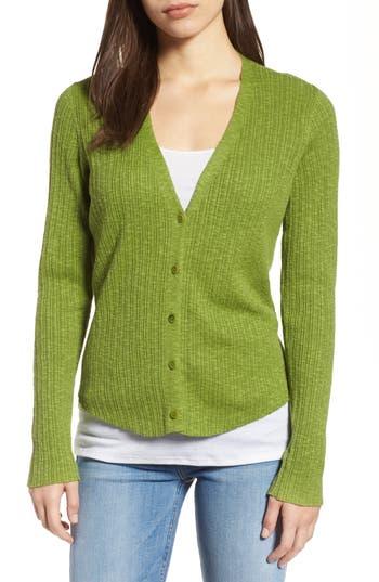 Women's Eileen Fisher V-Neck Organic Linen & Cotton Cardigan, Size XX-Small - Green