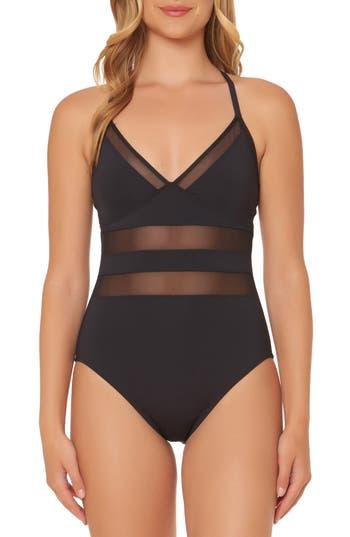 Bleu By Rod Beattie Mesh Inset One-Piece Swimsuit, Black