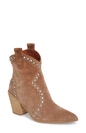 Jeffrey Campbell Nightwing Crystal Stud Bootie- Brown