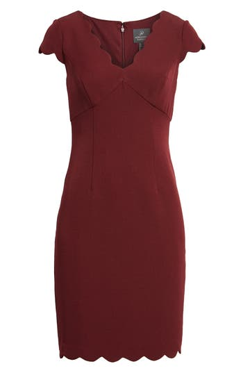 Adrianna Papell Scalloped Crepe Sheath Dress, Red