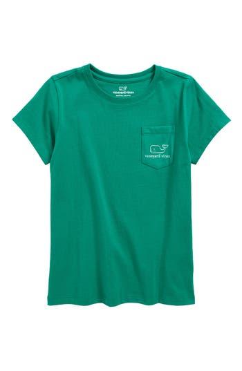 Girl's Vineyard Vines Foil Vintage Whale Pocket Tee, Size M (10-12) - Green
