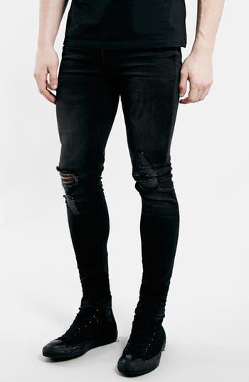 Topman Ripped Spray On Skinny Jeans, Black