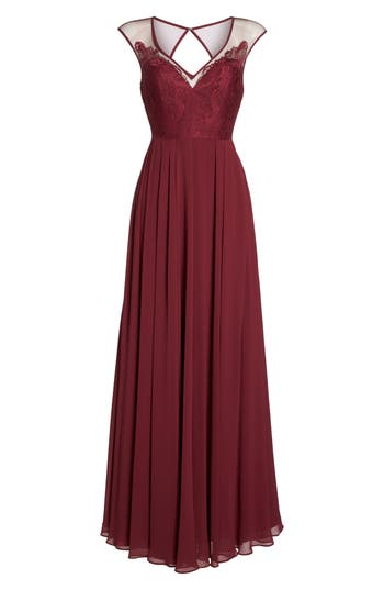 Hayley Paige Occasions Mixed Media A-Line Gown, Burgundy