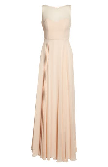 Jenny Yoo Elizabeth Chiffon Gown, Pink