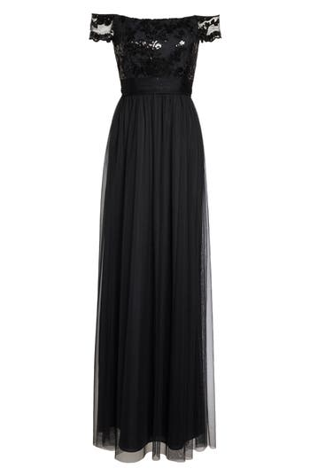 Amsale Ireland Embellished Off The Shoulder Gown, Black