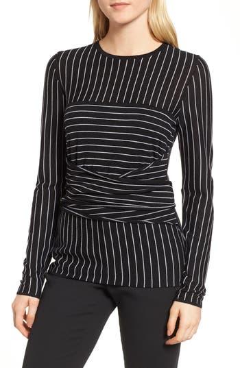 Women's Lewit Stripe Italian Wool Wrap Sweater, Size X-Small - Black