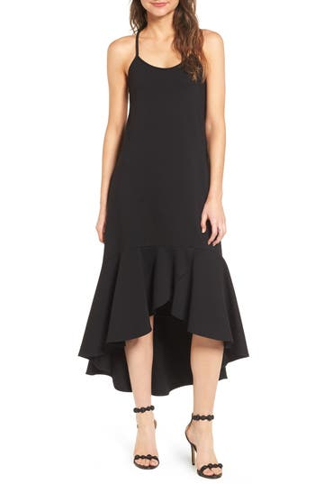 Women's Leith Ruffle Midi Dress, Size X-Small - Black