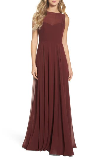 Jenny Yoo Elizabeth Chiffon Gown, Burgundy