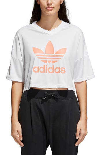 Adidas Originals Trefoil Crop Tee, White