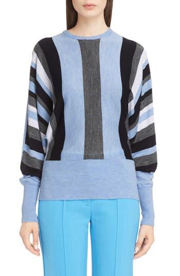 Women's Victoria, Victoria Beckham Stripe Wool Dolman Sweater, Size 0 US / 4 UK - Blue