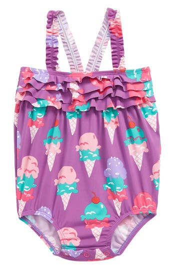 Infant Girl's Hatley Ice Cream Mini One-Piece Swimsuit, Size 3-6M - Purple