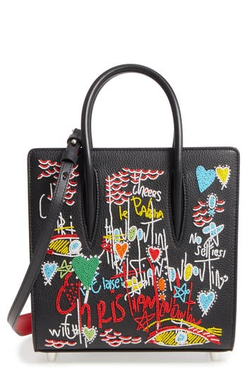 Christian Louboutin Small Paloma Loubitag Beaded Leather Tote - Black at NORDSTROM.com