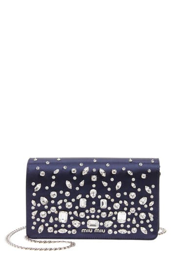 Miu Miu Swarovski Crystal Embellished Shoulder Bag - Blue at NORDSTROM.com