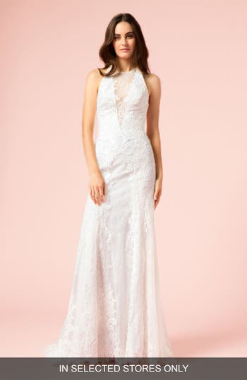 Bliss Monique Lhuillier Illusion Plunging Trumpet Gown, Size IN STORE ONLY - Pink