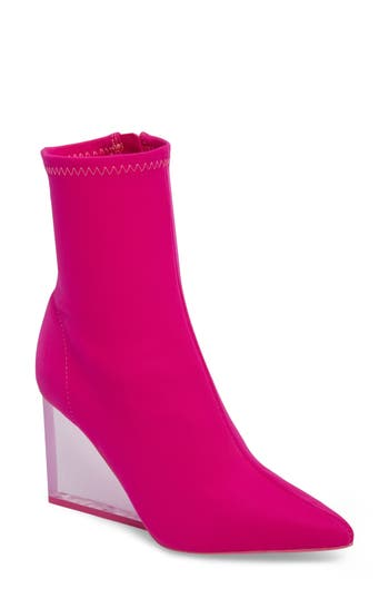 Jeffrey Campbell Siren Clear Wedge Sock Bootie- Pink