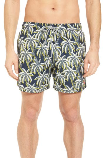 Ted Baker London Hoppah Palm Print Swim Shorts, Blue
