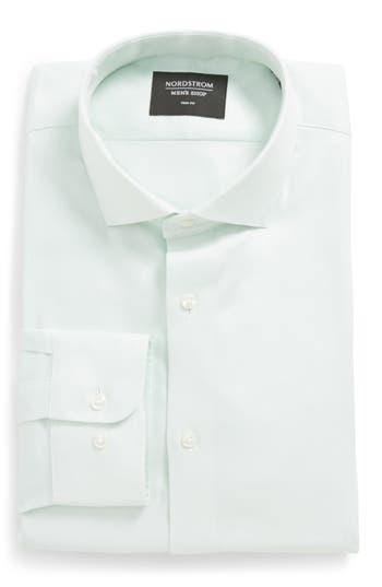 Men's Nordstrom Men's Shop Trim Fit Solid Dress Shirt, Size 17 32/33 - Green