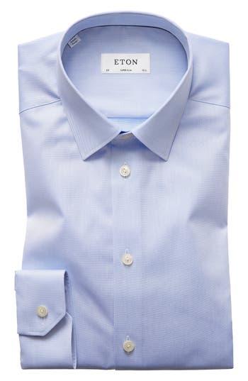 Men's Eton Super Slim Fit Twill Dress Shirt, Size 14.5 - Blue