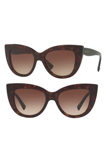 Women's Valentino 51Mm Cat Eye Sunglasses - Brown Havana