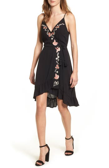 Women's Band Of Gypsies Floral Embroidered Faux Wrap Dress, Size X-Small - Black