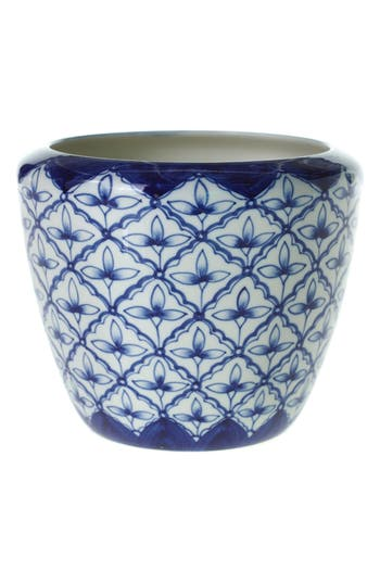 accent decor accent decor eleanor hand painted ceramic pot size one size blue