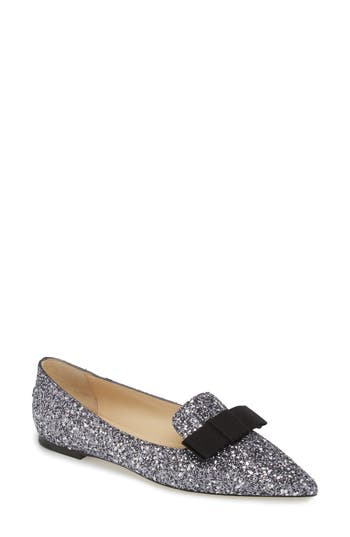 Women's Jimmy Choo Glitter Bow Flat, Size 4US / 34EU - Metallic