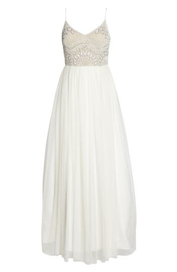 Adrianna Papell Beaded Bodice Mesh Fit & Flare Gown, Ivory