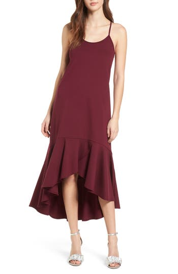 Women's Leith Ruffle Midi Dress, Size X-Large - Burgundy