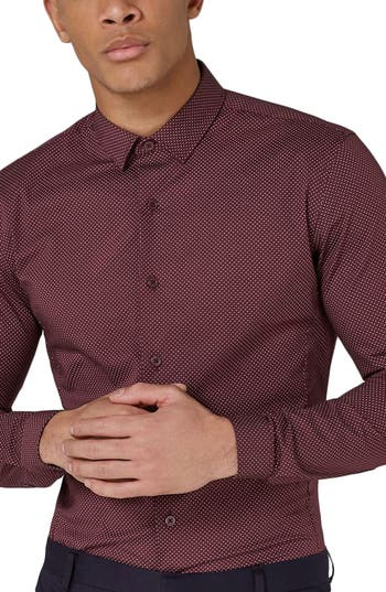 Topman Muscle Fit Polka Dot Sport Shirt, Burgundy