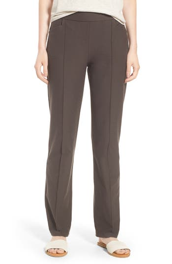 Eileen Fisher Slim Washable Stretch Crepe Bootcut Pants, Grey