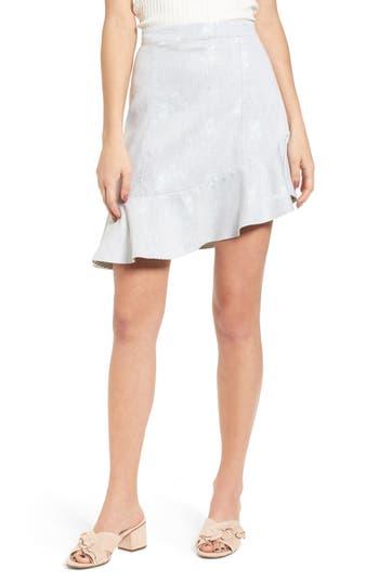 Bp. Asymmetrical Ruffle Hem Skirt, Grey