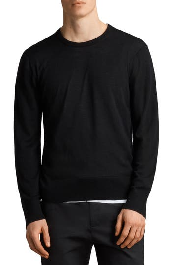 Allsaints Lang Crewneck Merino Wool Sweater, Black