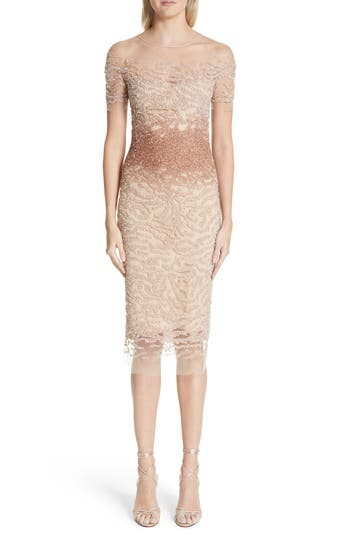 Pamella Roland Beaded Illusion Dress