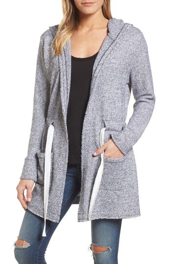 Petite Womens Caslon Drawstring Hooded Jacket Size XXSmall P  Black