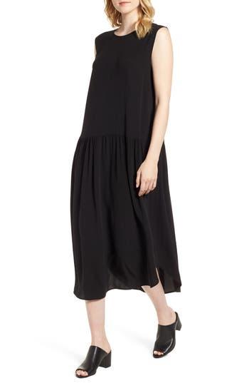 Eileen Fisher Drop Waist Silk Midi Dress, Black