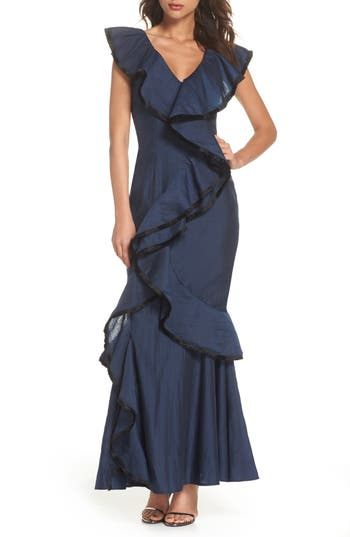 Keepsake The Label Hold On Ruffle Gown, Blue