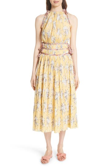 Rebecca Taylor Pleat Midi Dress, Yellow