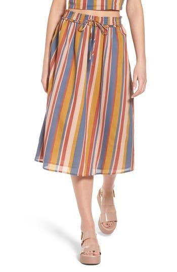 June & Hudson Smocked Midi Skirt, Yellow