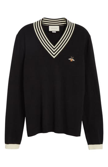 Gucci Bee Applique Wool Pullover Sweater, Black