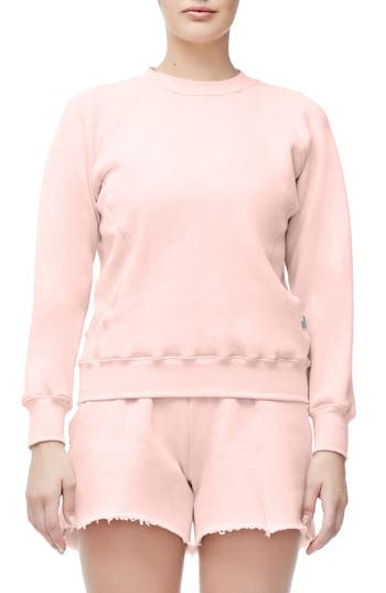 Good American Good Sweats The Not-So-Basic Crew Sweatshirt, Pink
