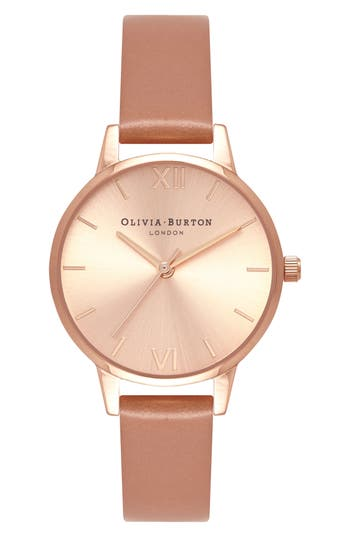 Olivia Burton Sunray Leather Strap Watch, 30mm