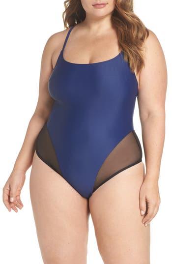 Plus Size Chromat Delta X One-Piece Swimsuit, Blue