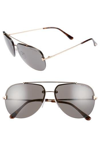 Tom Ford Brad 6m Metal Aviator Sunglasses - Rose Gold/ Smoke