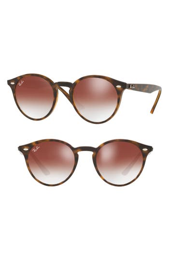 Ray-Ban Highstreet 51Mm Round Sunglasses - Red Gradient Mirror