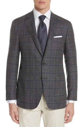 Men's Canali Kei Classic Fit Windowpane Wool Blend Sport Coat