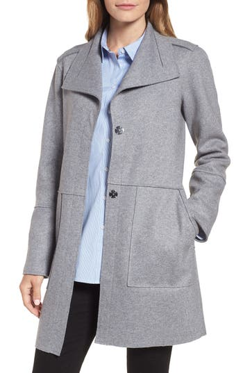 Kenneth Cole New York Envelope Collar Wool Blend Knit Coat