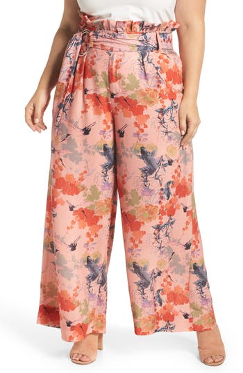 plus size women's lost ink print belted wide leg paperbag trousers, size 0x - pink