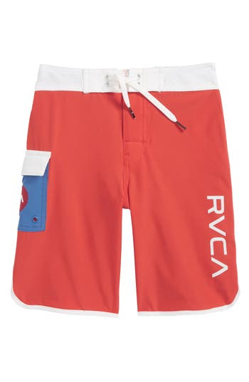 Boys Rvca Eastern Scalloped Hem Board Shorts Size 25  Red