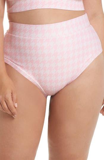 Plus Size Alpine Butterfly Lover High Waist Bikini Bottoms, Pink