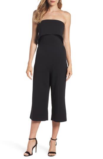 women's dorothy perkins strapless culotte jumpsuit, size 14 us / 18 uk - black